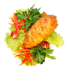 Cutlet with vegetable garnish
