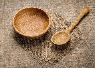 Wooden bowl and spoon