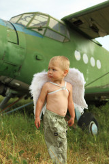 little boy with angel wings