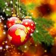 Weihnachtskarte, Weltkugel, Hintergrund, Vorlage, rötlich, warm
