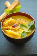 soupe de potiron au curry et gambas