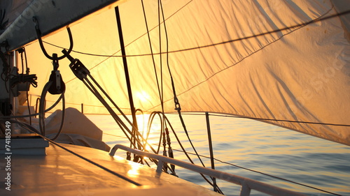 Plexiglas Zeilen beautiful sun-filled sails at dawn