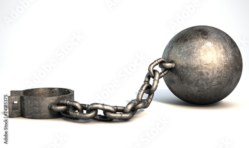 Ball And Chain Isolated - 74185375