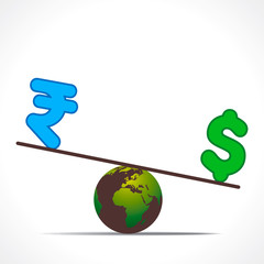 compare rupee and dollar on earth design concept