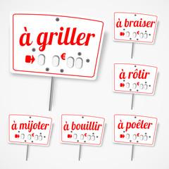 Etiquettes cuisson viandes