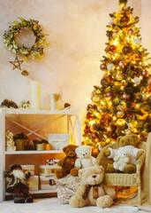 Christmas interior decoration for family celebration