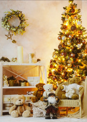 Christmas interior decoration with cozy atmosphere