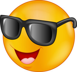 Smiling emoticon wearing sunglasses
