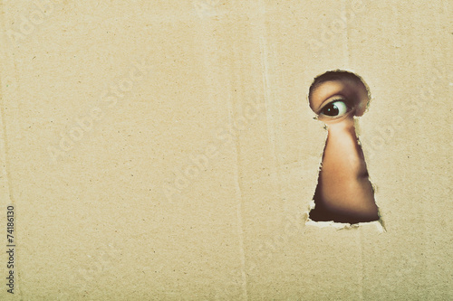 canvas print picture Eye looking through a conceptual keyhole on cardboard, close up