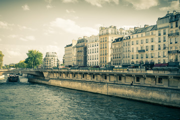 Vintage style view of the River Seine in Paris France