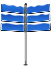 Wegweiser, Strassenschild blau-weiß, freigestellt