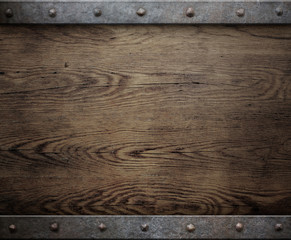 old wood background with metal frame