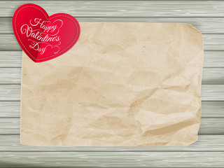Red hearts on vintage paper background. EPS 10