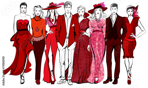 Colorful fashion women and men defile - 74186949