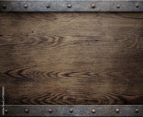 Papiers peints Bois old wood background with metal frame