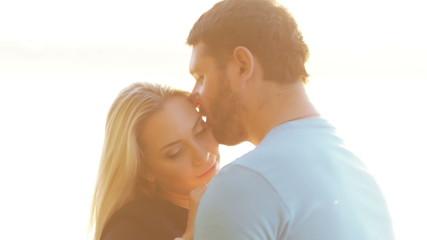 Couple in backit sun