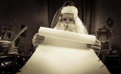 Santa with a long Christmas list