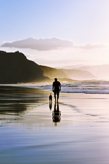 man walking the dog on beach