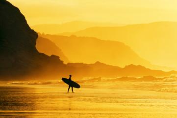 surfer entering water at misty sunset