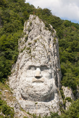 The statue of Decebal carved in the mountain - closeup