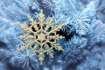 Beautiful snowflake on a Christmas tree