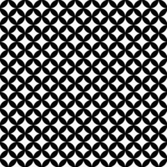 Black and White Interconnected Circles Tiles Pattern Repeat Back