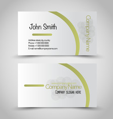 Business card set template. Green and silver color.