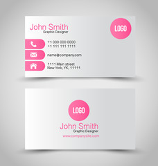Business card set template. Pink and silver color.