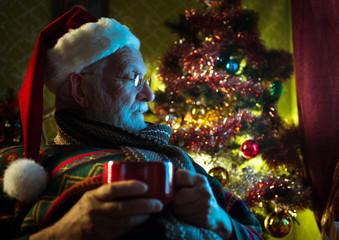 Santa Claus relaxing at home