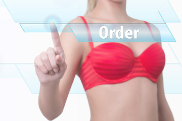 woman pressing order button