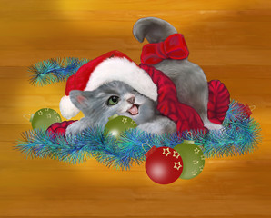 Gattina giocherellona a Natale