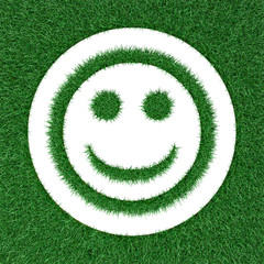 cheerful smiley from grass