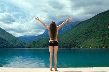 Free happy woman enjoying Beauty world. Enjoyment concept. The P