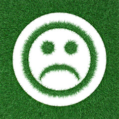 sad smiley  from grass