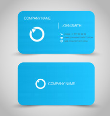 Business card set template. Blue color, round corners.