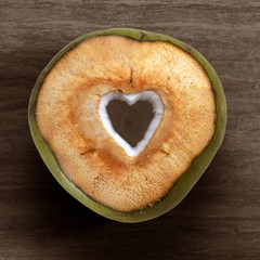 Fresh coconut cut out isolated on white background