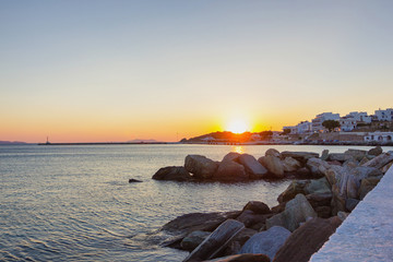 sunset in Tinos island,Greece