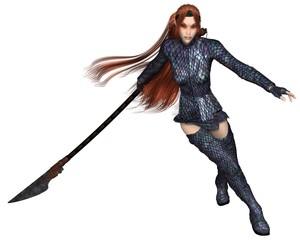 Female Elf Dragon Warrior, Fighting