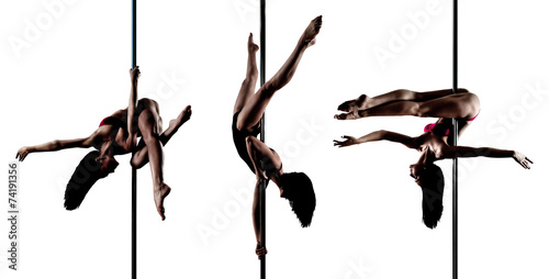 Young sexy pole dance woman - 74191356
