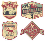 Wildlife exploration vintage patches poster