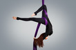 Beautiful dancer on aerial silk, aerial contortion, aerial ribbo - 74191742