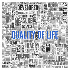 QUALITY OF LIFE Concept Word Tag Cloud Design