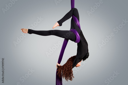 Fototapeta Beautiful dancer on aerial silk, aerial contortion, aerial ribbo