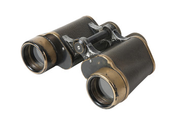 Old  binoculars on a white background