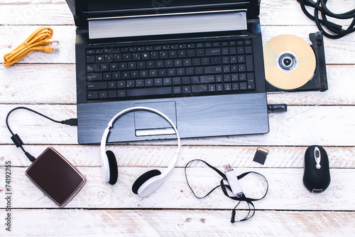 Computer Peripherals & Laptop Accessories. Composition on white - 74192755