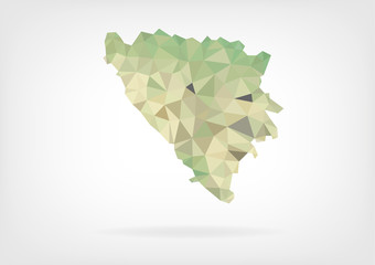 Low Poly Map of Bosnia and Herzegovina