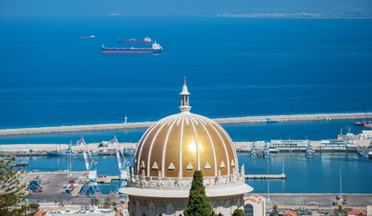 View of the port of Haifa and Mount Carmel