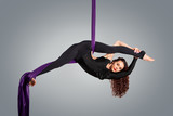 Beautiful dancer on aerial silk, aerial contortion, aerial ribbo poster