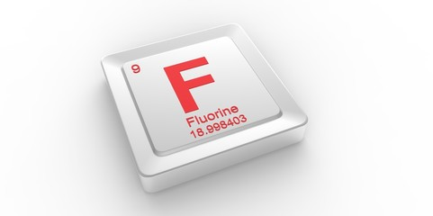 F symbol 9 for Fluorine chemical element of the periodic table