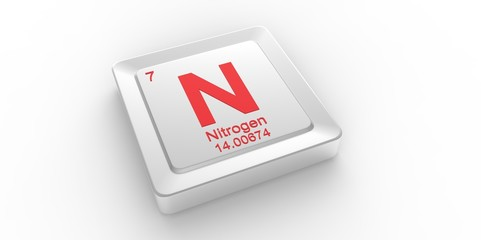 N symbol 7 for Nitrogen chemical element of the periodic table